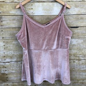 Soft Pink Velvet Camisole Top Adjustable Straps